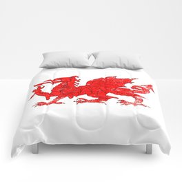 Welsh Dragon With Grunge Comforters