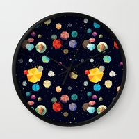 low poly Wall Clocks featuring Low Poly Space by Evan Smith