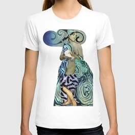 Woman with Dove (mixed media) T-shirt