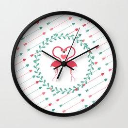 Flamingo Love Wall Clock