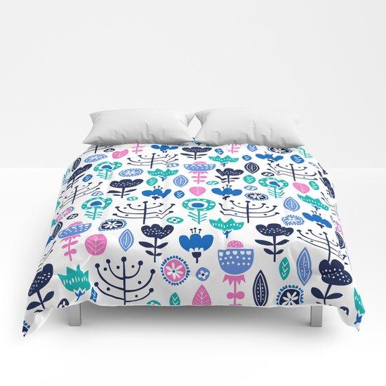 Flourish (Blues) Comforters