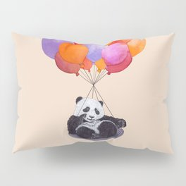 Panda flying with balloons Pillow Sham