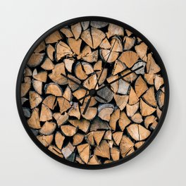 Wood Pile Wall Clock