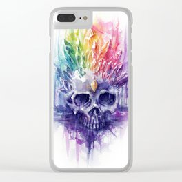 Rainbow Crystal Skull Clear iPhone Case