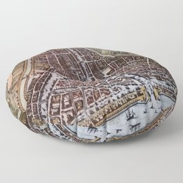 Replica city map of Rotterdam 1652 Floor Pillow