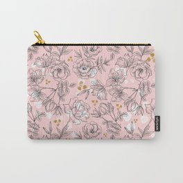 Pattern Pink and black flowers Carry-All Pouch