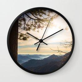 Sierra Nevada Mountains at sunset Wall Clock