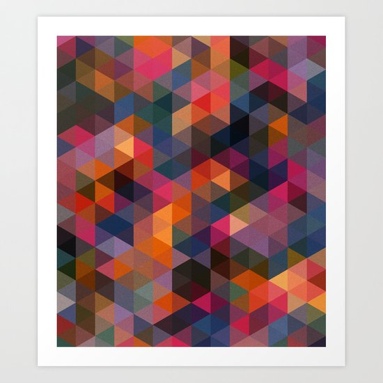 Triangle Coloured Pattern Art Print