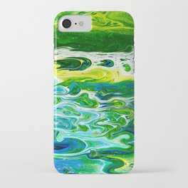 Blue waves and green grass iPhone Case
