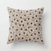 daisies Throw Pillows featuring Daisies by Marta Li