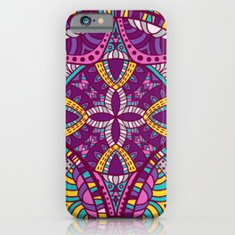 Beautiful Vintage Retro Bohemian Hippie Magenta Teal Mandala Design iPhone Case
