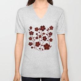 Deep Red Flowers  Unisex V-Neck