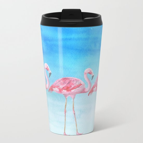 Flamingo bird summer lagune - watercolor illustration Metal Travel Mug
