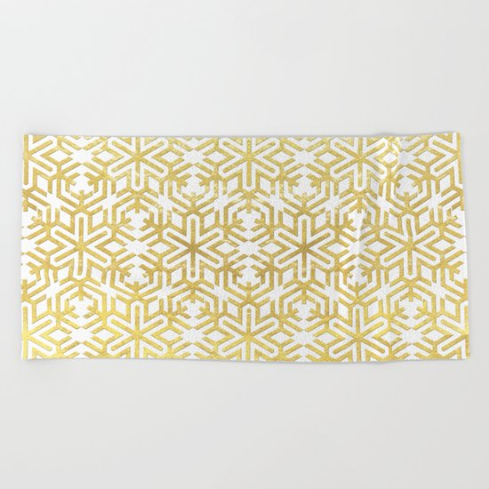White and Gold Snowflake Pattern Beach Towel