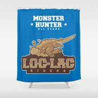 monster hunter Shower Curtains featuring Monster Hunter All Stars - Loc-Lac Riders by Bleached ink