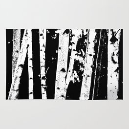 Black and White Birch Trees Fade Out Rug