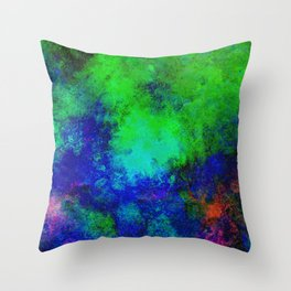 Awaken - Blue, green, abstract, textured painting Throw Pillow