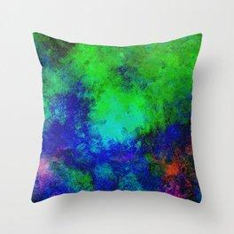 Awaken - Blue, green, abstract, textured painting Throw Pillow