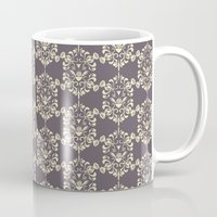 damask Mugs featuring Damask aubergine by Carolina Abarca