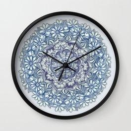 Indigo Medallion with Butterflies & Daisy Chains Wall Clock