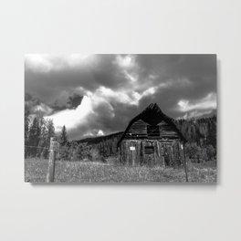 Black and White Barn Metal Print