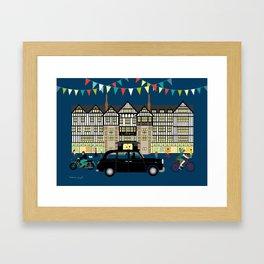 Art Print of Liberty of London Store - Night with Black Cab Framed Art Print