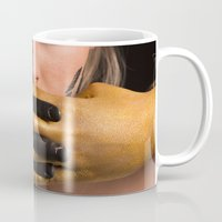 black and gold Mugs featuring Black & Gold by Levi Price