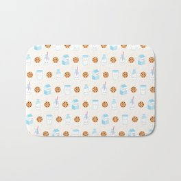 Milk and Cookies Pattern on Cream Bath Mat