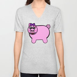 Girly Stuffed Pig Unisex V-Neck