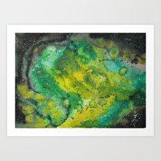 Yellow green galaxy Art Print