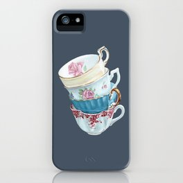 Lean on Me in Navy | Teacup Painting Wall Art iPhone Case