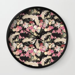 Japanese garden with cranes Wall Clock
