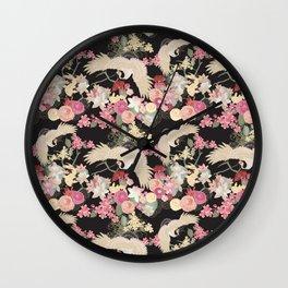 Japanese garden with cranes Wall Clock