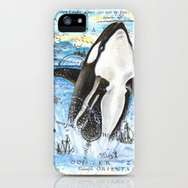 Breaching Orca Ancient Map iPhone Case