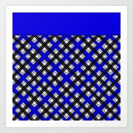 Combo black blue plaid Art Print