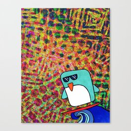 street surfing penguin  Canvas Print