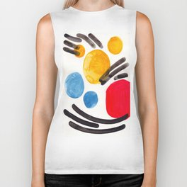 Mid Century Modern Abstract Juvenile childrens Fun Art Primary Colors Watercolor Minimalist Pop Art Biker Tank