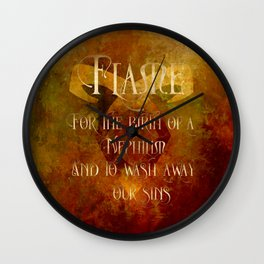 FLAME for the birth of a Nephilim and to wash away our sins. Shadowhunter Children's Rhyme. Wall Clock