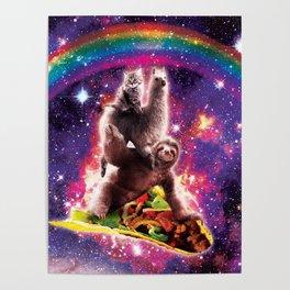 Space Cat Llama Sloth Riding Taco Poster