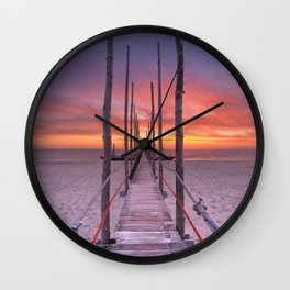I - Seaside jetty at sunrise on Texel island, The Netherlands Wall Clock