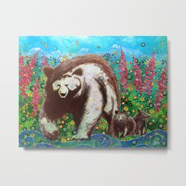 Grizzly Sow and Cubs Metal Print