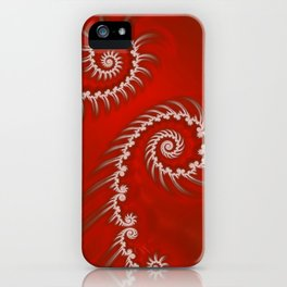 Red and White Striped Swirl - Fractal Art iPhone Case
