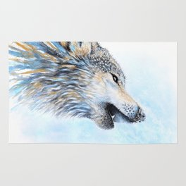 """Howling"" Watercolor Wolf Rug"