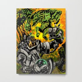 Doktor Steampug Versus Gorillizard! Metal Print