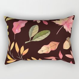 Hand painted pastel pink green brown watercolor leaves Rectangular Pillow