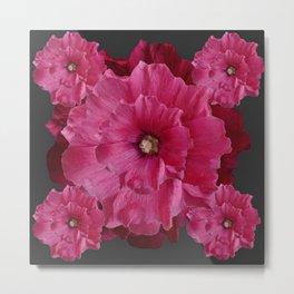 FUCHSIA-PINK  DOUBLE  HOLLYHOCK FLOWERS GARDEN Metal Print