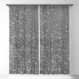 Black & Silver Glitter #1 #decor #art #society6 Sheer Curtain
