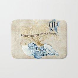 Indigo Ocean Sea Shells Angelfish Coral Watercolor Artwork Bath Mat