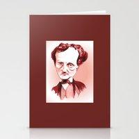 edgar allan poe Stationery Cards featuring Edgar Allan Poe by Diego Abelenda