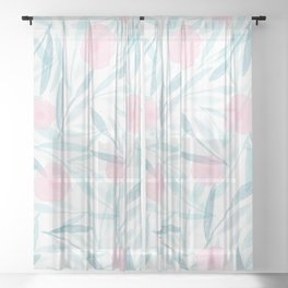 Watercolour Floral (Teal & Pink) Sheer Curtain